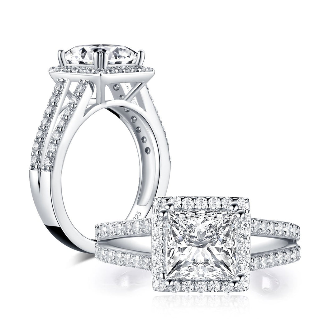 Princess Cut Created White Diamond Ring