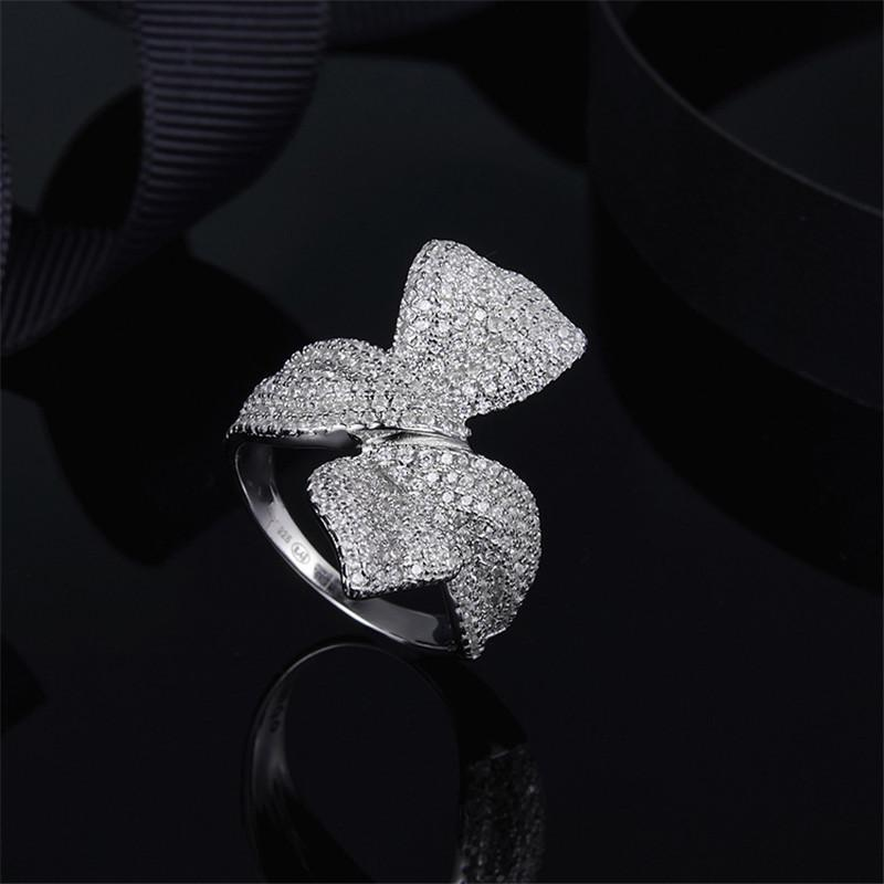 Sterling Silver Created Diamond Bow Ring
