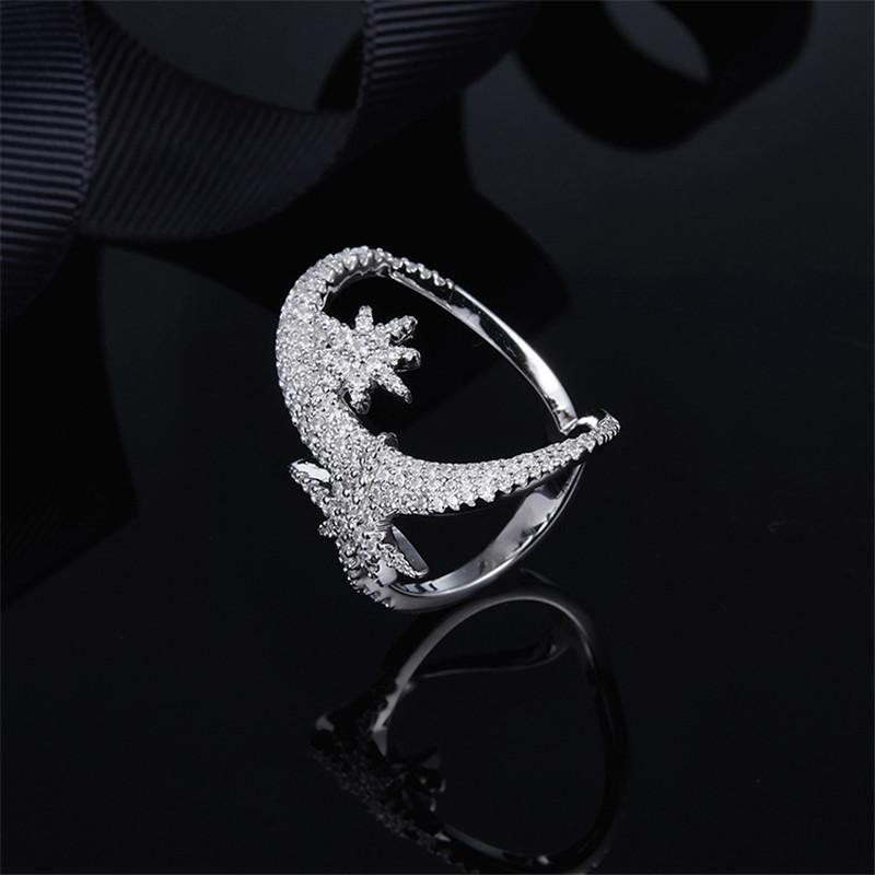 S925 Pure Silver High-end Micro Inlaid Crystal Diamond Couple Star Moon Ring Personality