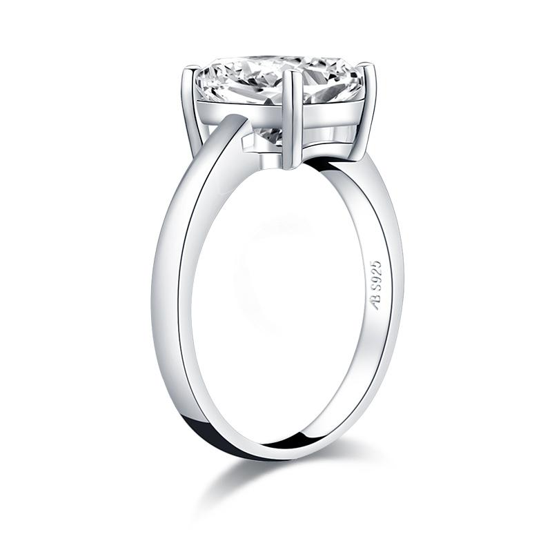 Cushion Created White Diamond Solitaire Ring