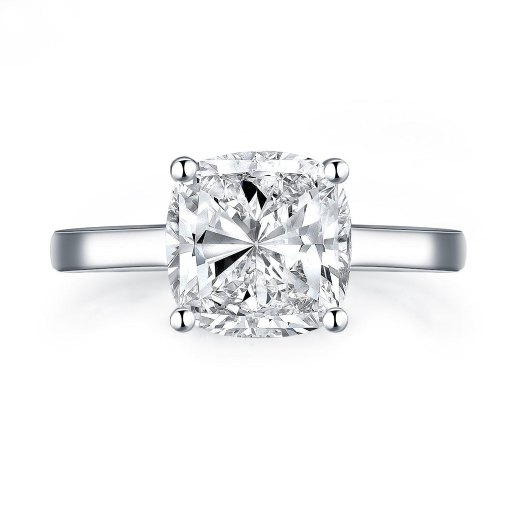 Solitaire Square Cushion Created White Diamond Ring
