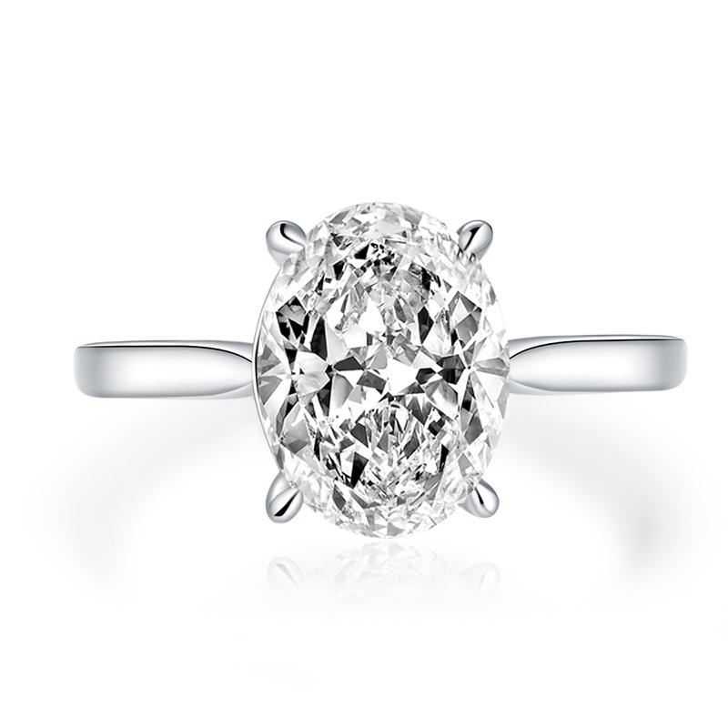 Oval Created Diamond Solitaire Ring