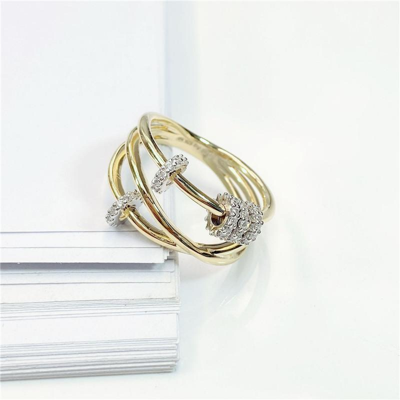 Criss Cross Yellow Gold Plated Ring