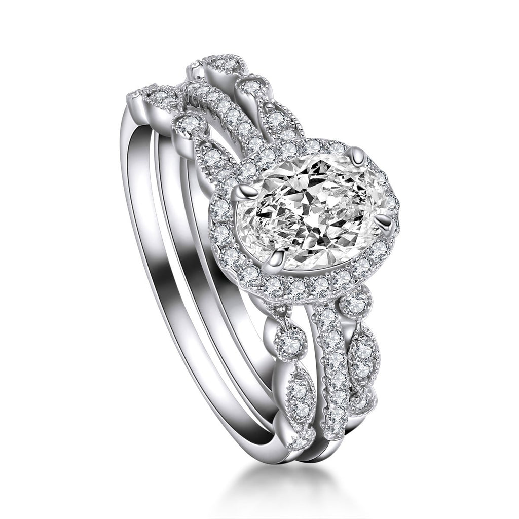 Floral Halo Oval Created White Diamond TRIO Ring Set