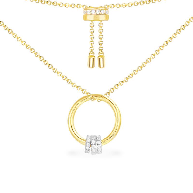 Fashion Round Circle Gold Plated Pendant Sterling Silver Necklace