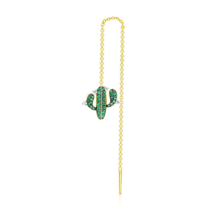 Cute Green Cactus Created Gemstone Single Earring