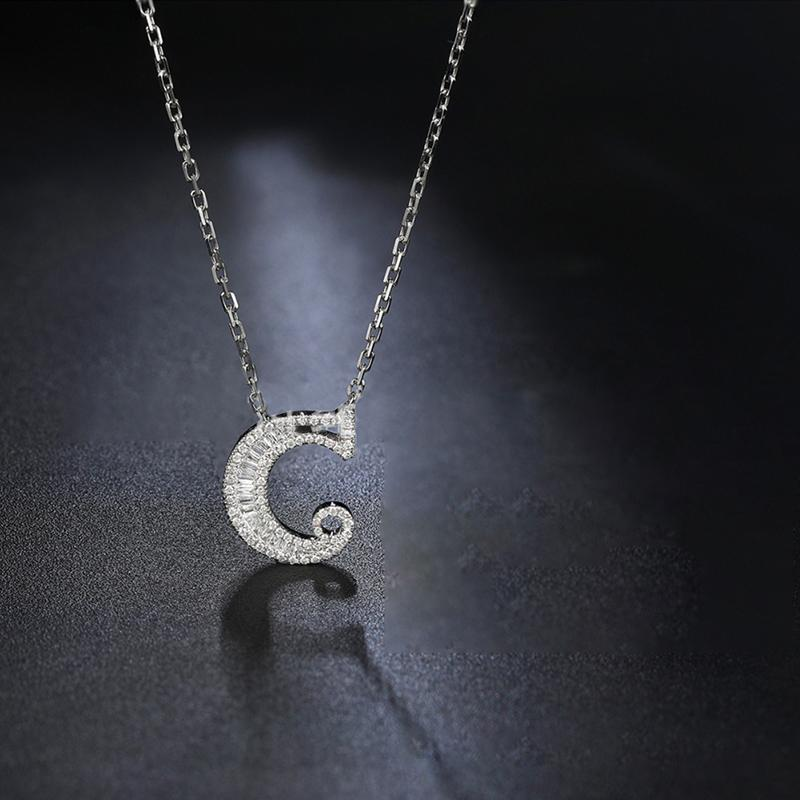 Letter C Created White Diamond Pendant Necklace