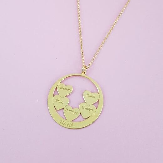 Circle Hearts Engraved Nana Necklace
