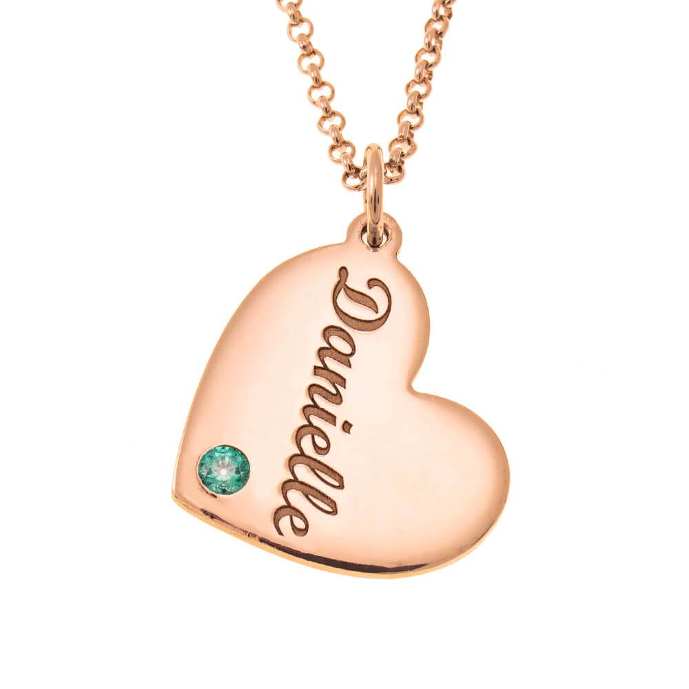 Heart Name Necklace With Birthstone