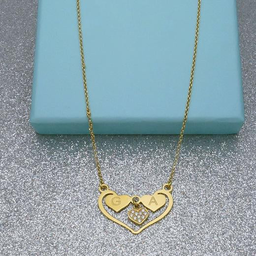 Heart Necklace With Initials