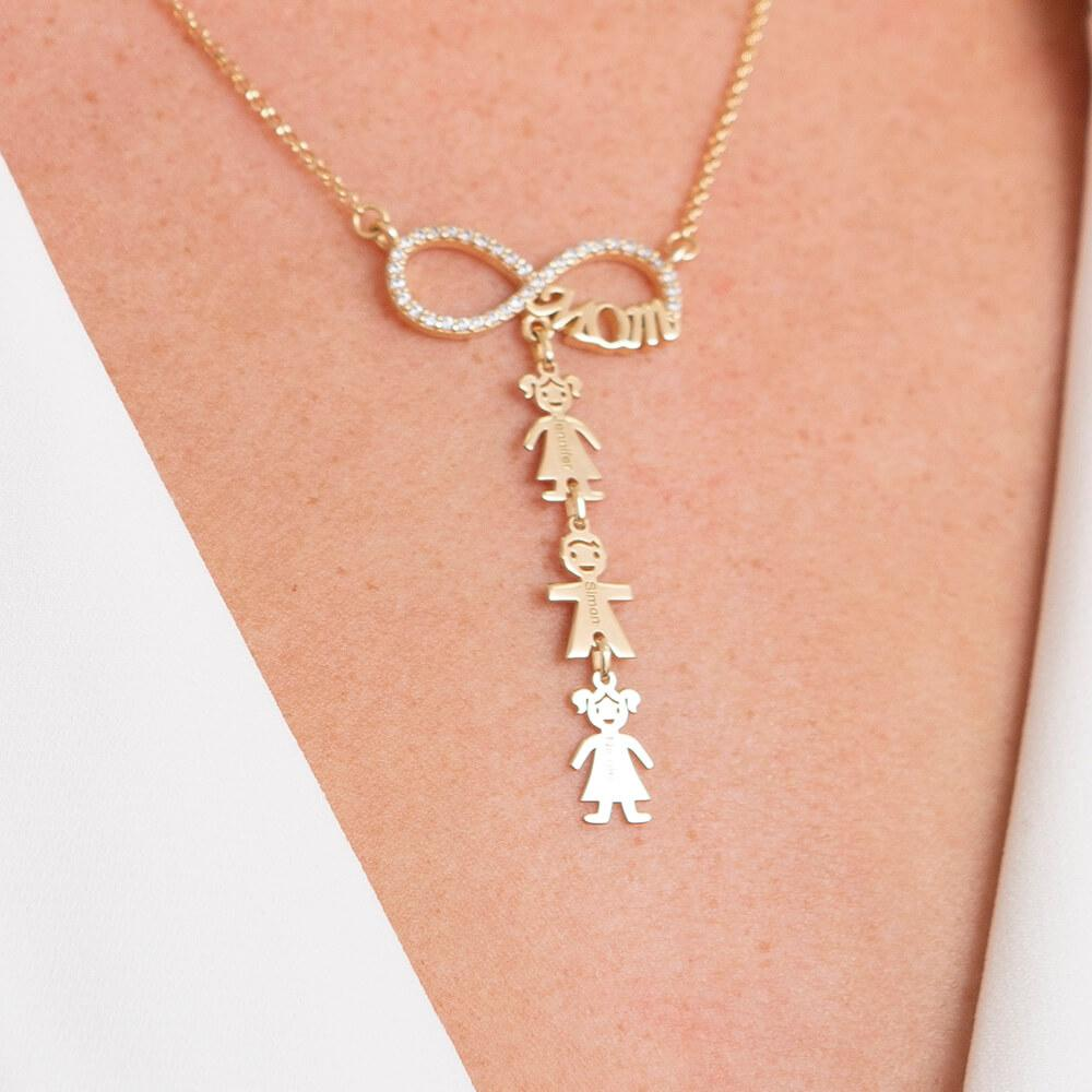 Inlay Infinity Mom Necklace With Kids