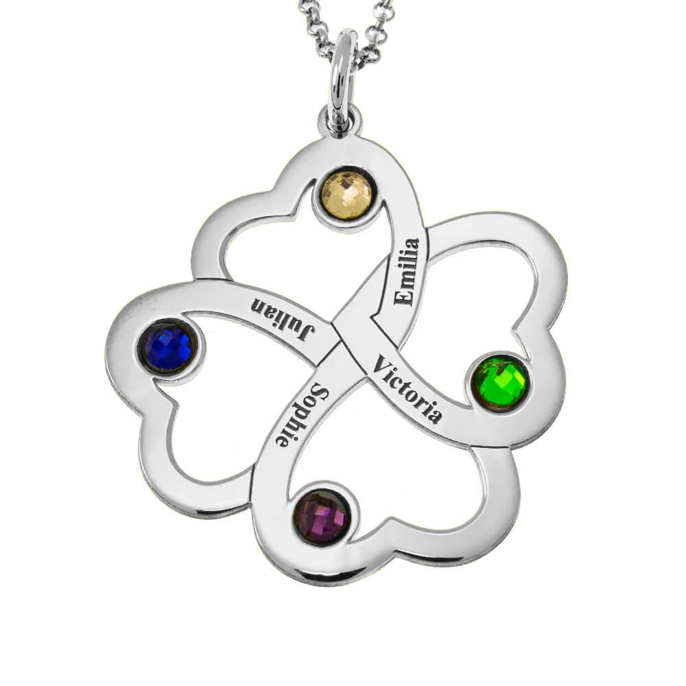 Intertwined 4 Hearts Name Necklace With Birthstones