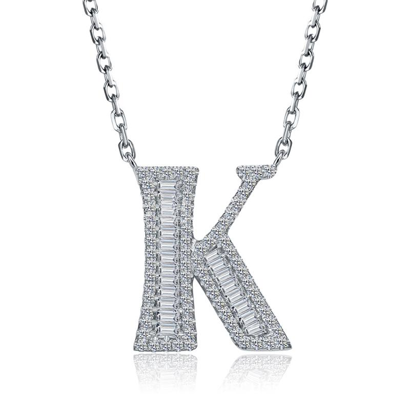 Letter K Created White Diamond Pendant Necklace