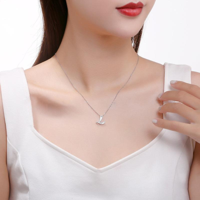 Letter L Created White Diamond Pendant Necklace