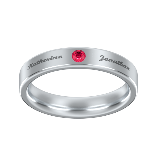 Engraved Band Ring With Birthstone