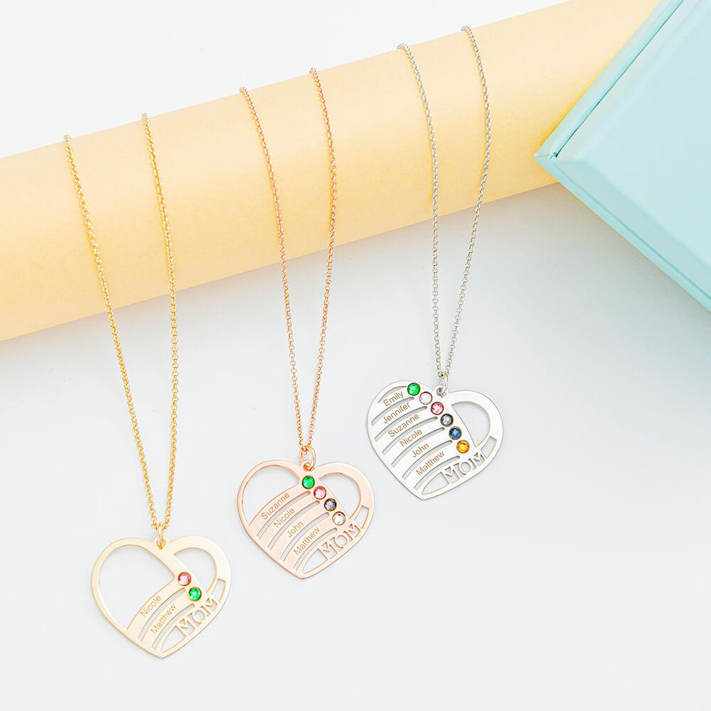 Mom Heart Necklace With Birthstones