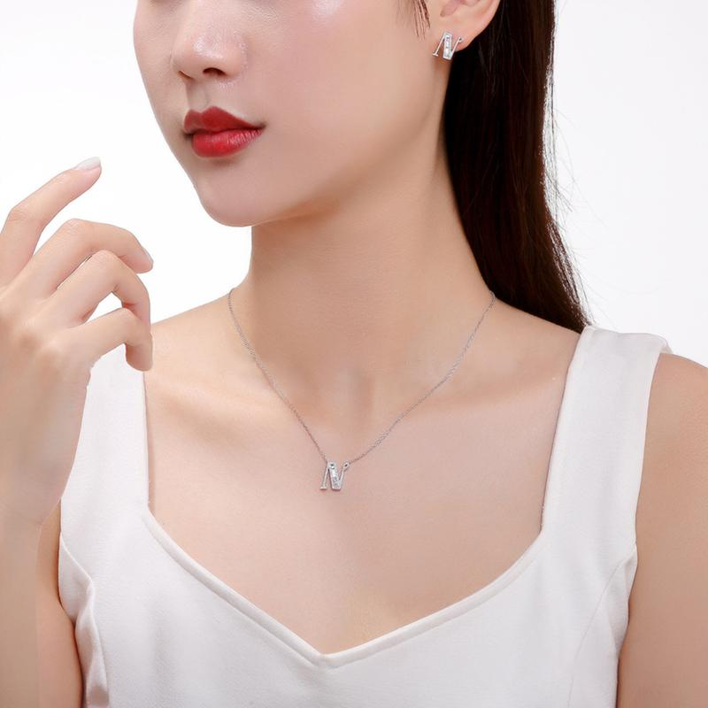 Letter N Created White Diamond Pendant Necklace
