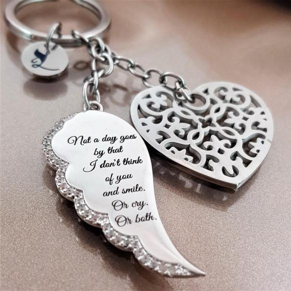 Not A Day Goes By Angel Wing Keychain