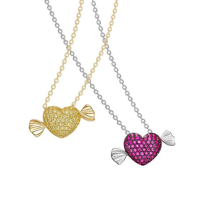 925 Sterling Silver Fashion Candy Love Necklace