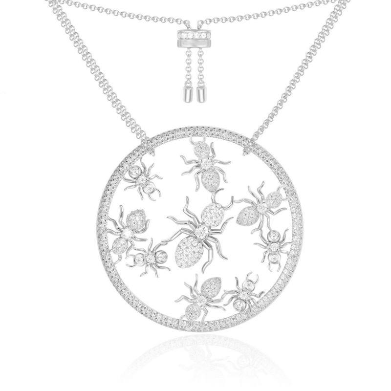 S925 Pure Silver High-End Micro Inlaid Crystal Diamond Creative Disc Ant Necklace