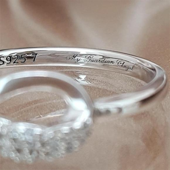 Our Love is Forever Sterling Silver Angel Wing Ring