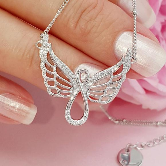Protect Me Always Sterling Silver Angel Wing Infinity Necklace
