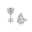 Pear Created White Diamond Stud Earrings