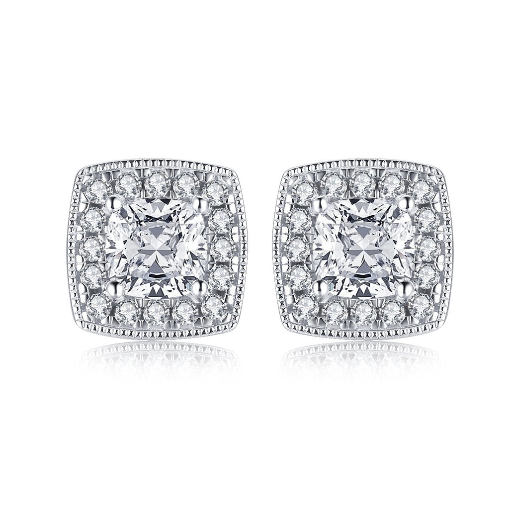 Halo Cushion Created White Diamond Stud Earrings