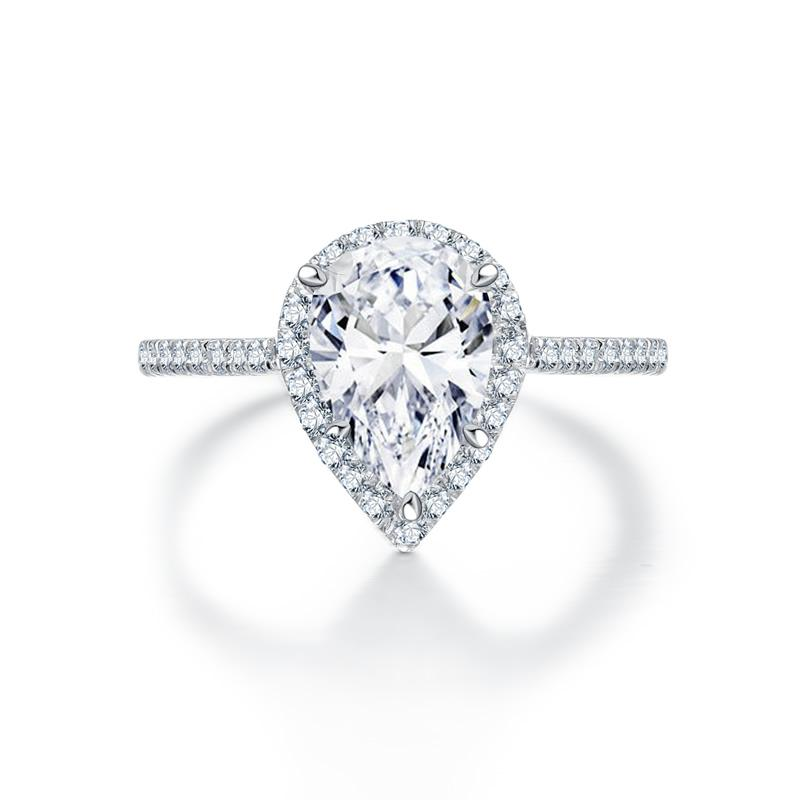 Pear Cut Created White Diamond Halo Ring
