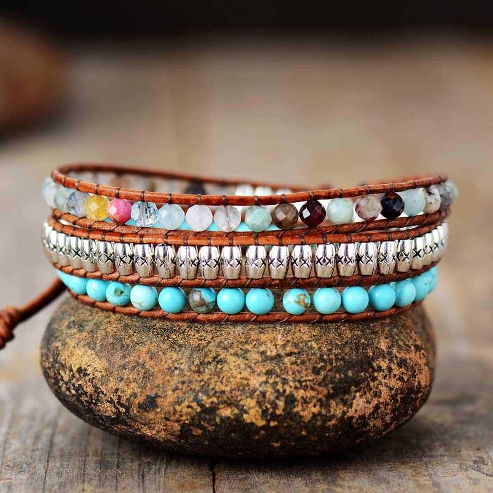 Tribal Natural Stone Wrap Bracelet
