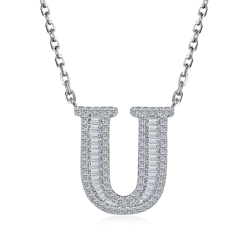 Letter U Created White Diamond Pendant Necklace