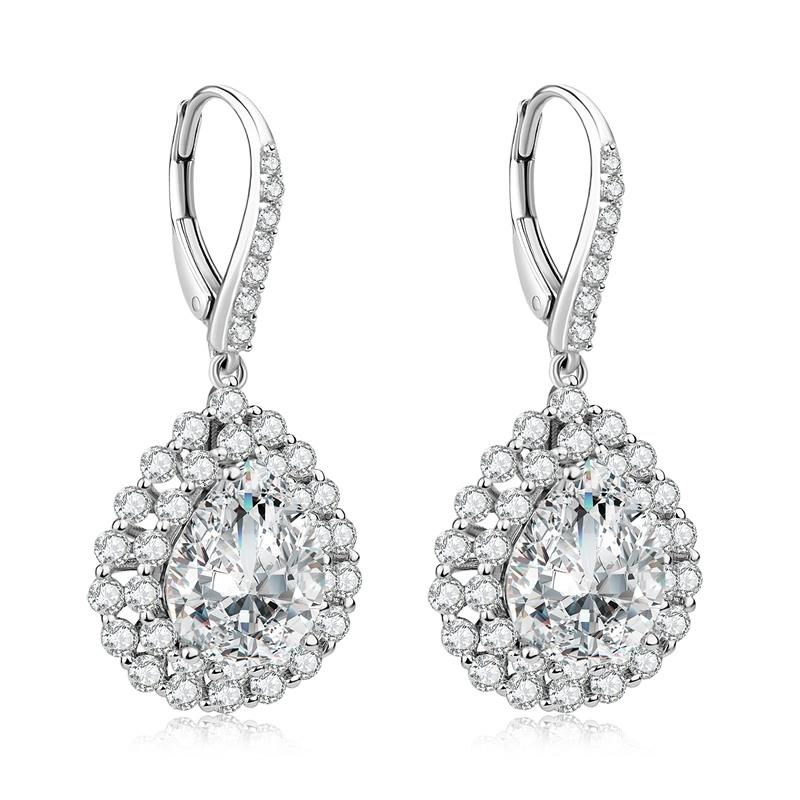 Pear Shape Halo Created Diamond Drop Hook Earrings