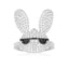 S925 Pure Silver High-End Micro Inlaid Crystal Diamond Lovely Glasses Rabbit Ring