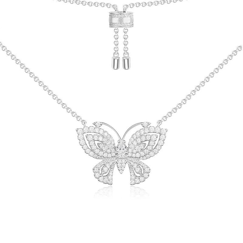 Elegant Butterfly Pendant White Created Diamond Sterling Silver Necklace