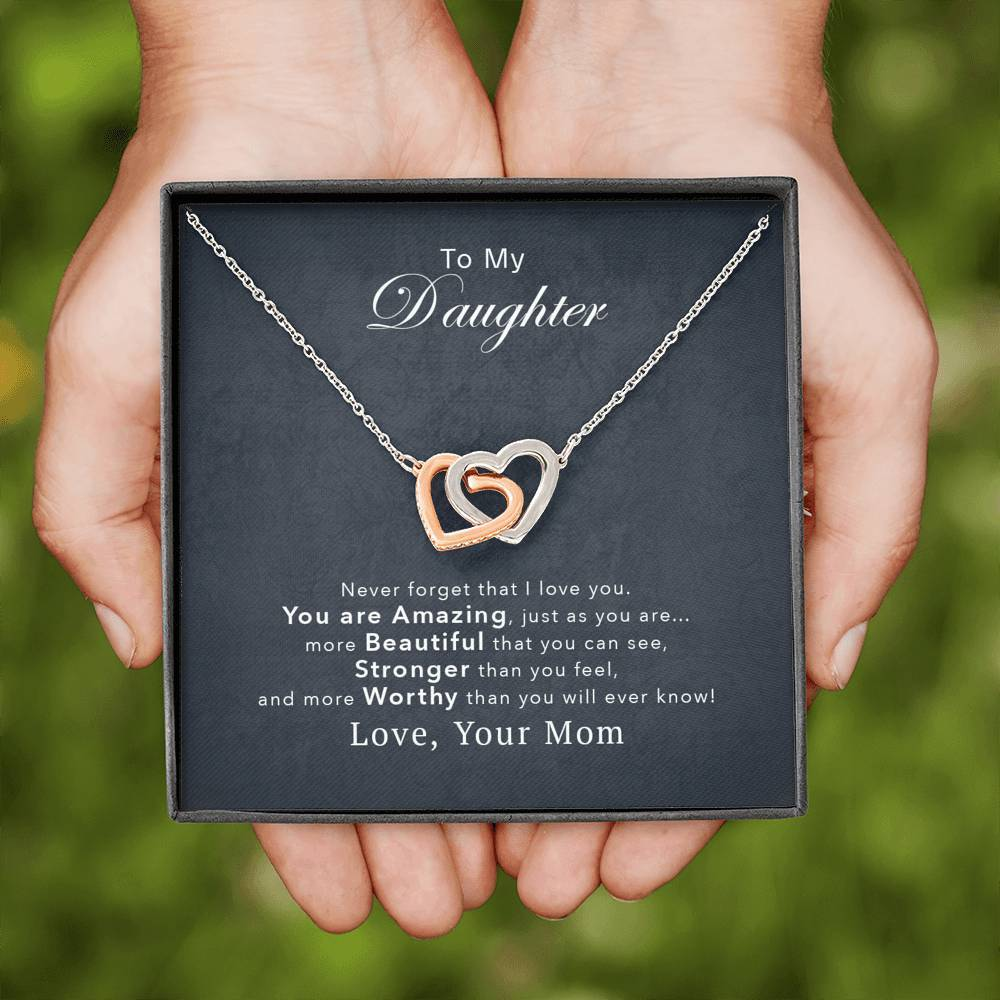 You Are Amazing - Gift For Daughter Interlocking Hearts Necklace