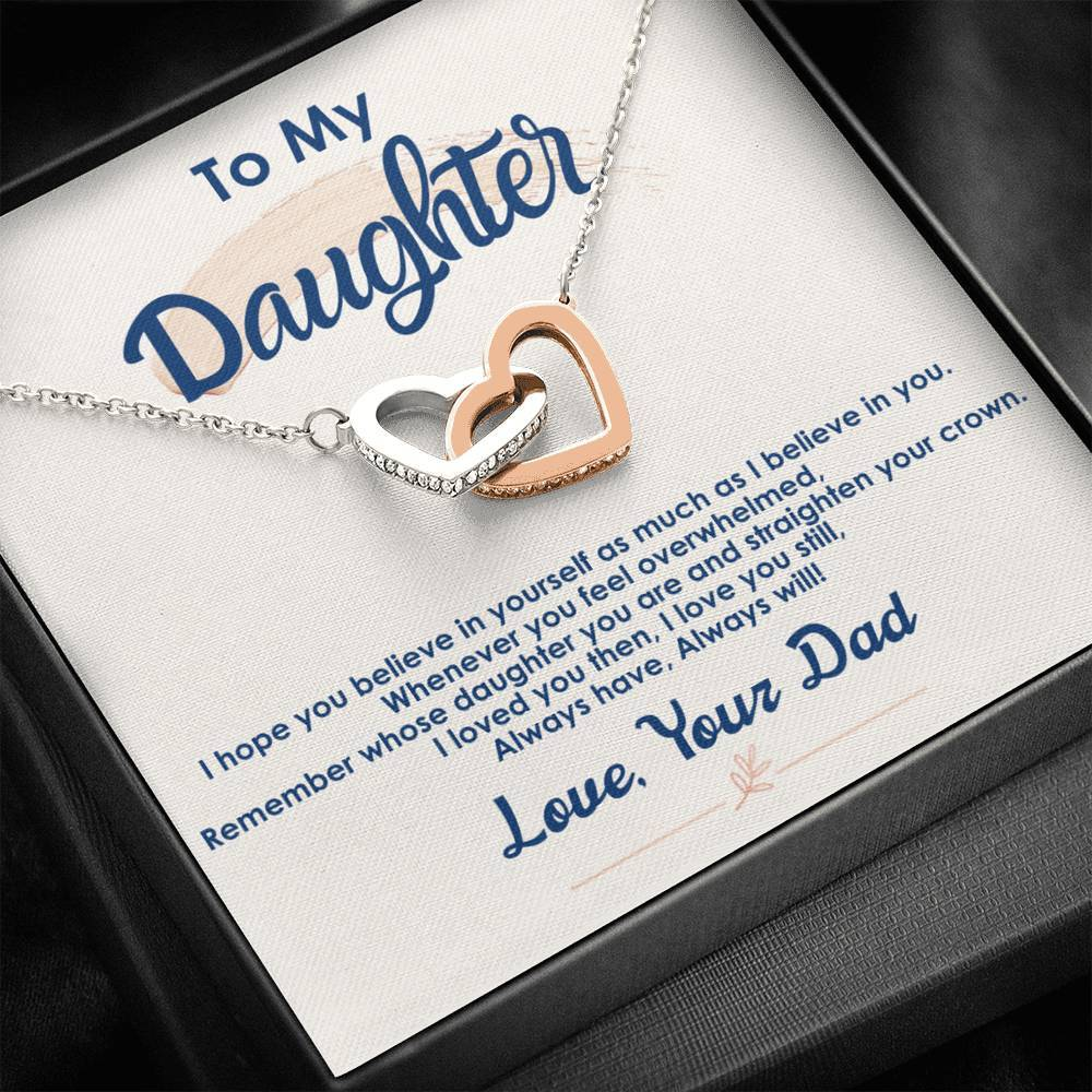 To My Daughter - My Little Princess - Interlocking Hearts Necklace