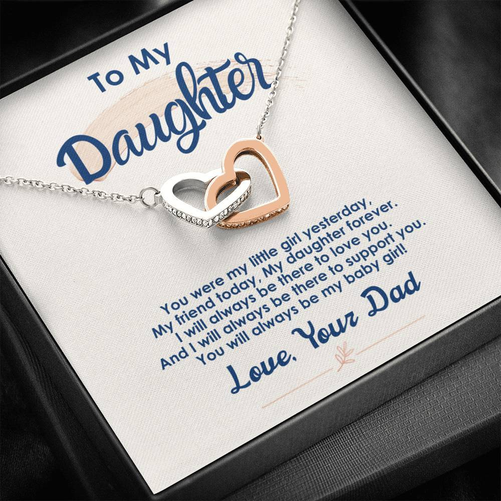 To My Daughter - My Daughter Forever - Interlocking Hearts Necklace