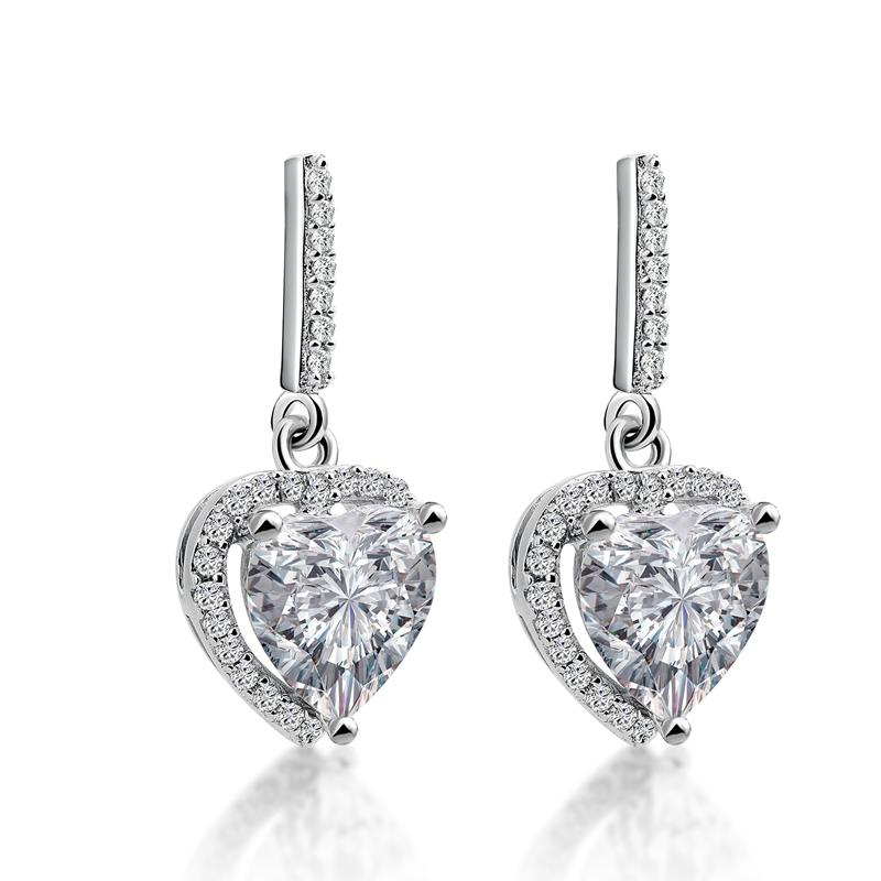 Heart Cut Created Diamond Halo Drop Earrings