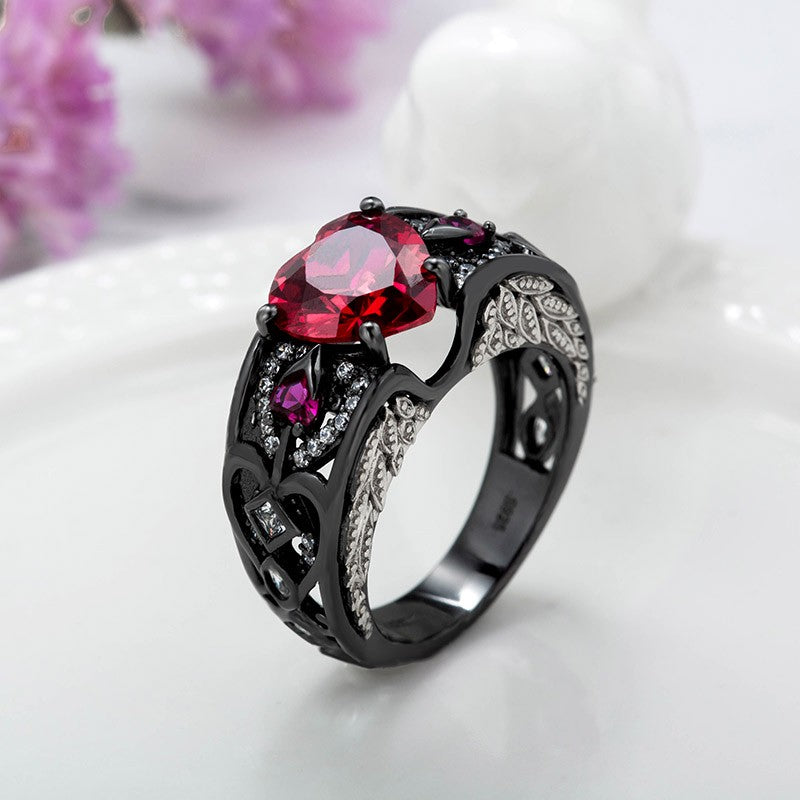Black Ring Angel Wing Heart Shaped Engagement Ring