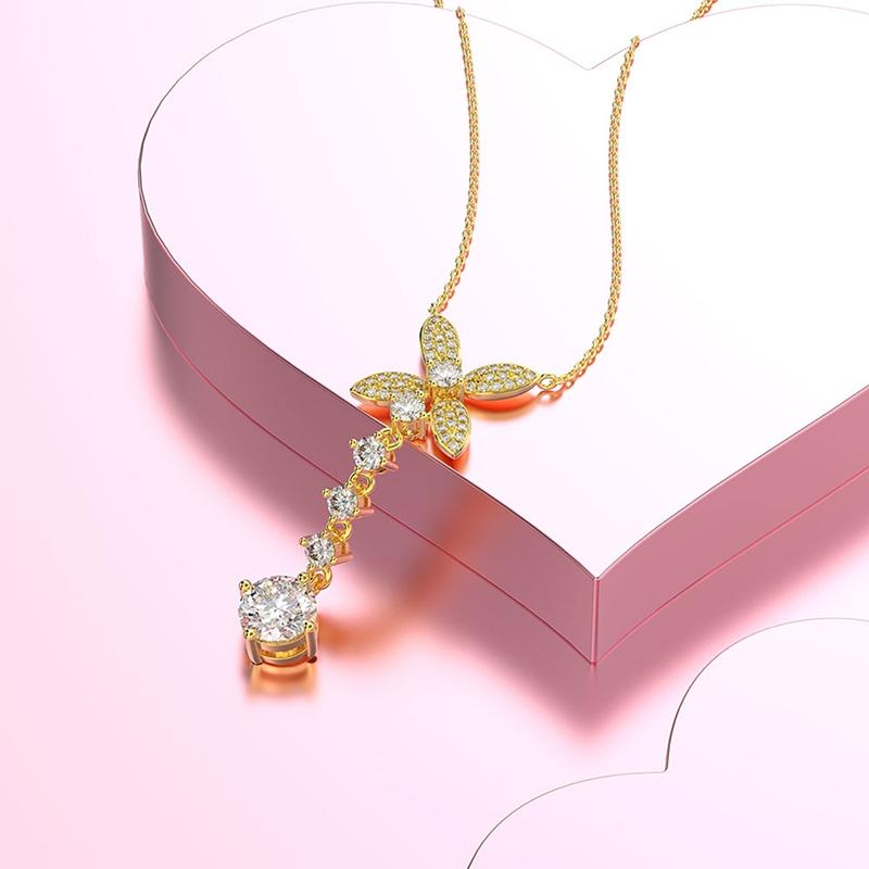 Bow Long Pendant Created Diamond Necklace