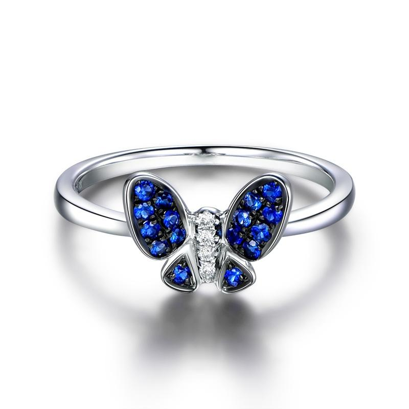 Butterfly Shaped Blue Created Diamond Ring Sterling Silver