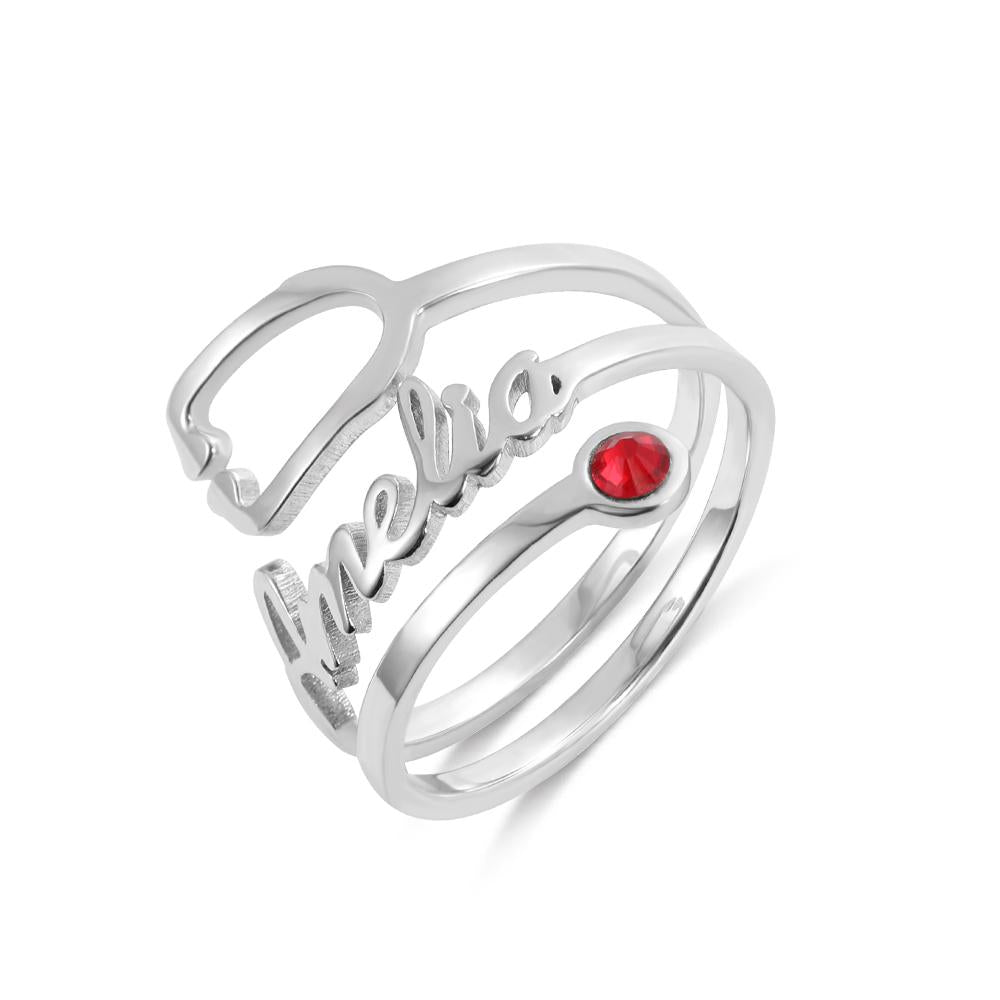 Personalized Name & Birthstone Stethoscope Ring