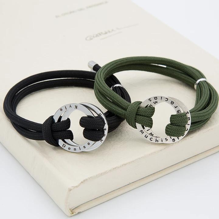 Personalized Rope Bracelet With Engraved Disc Hoop