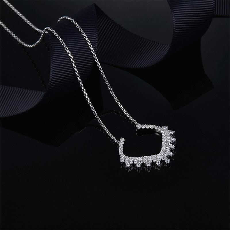 Shiny Sterling Silver Gear Pendant Necklace