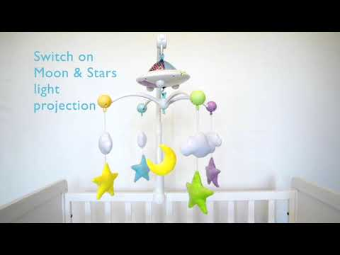 Moon & Stars Cot Mobile With Light Projection