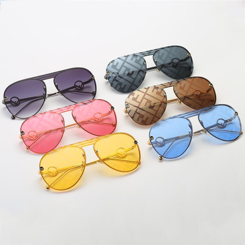 6 Colors Watermark Lens Hollow out Metal Frame Sunglasses