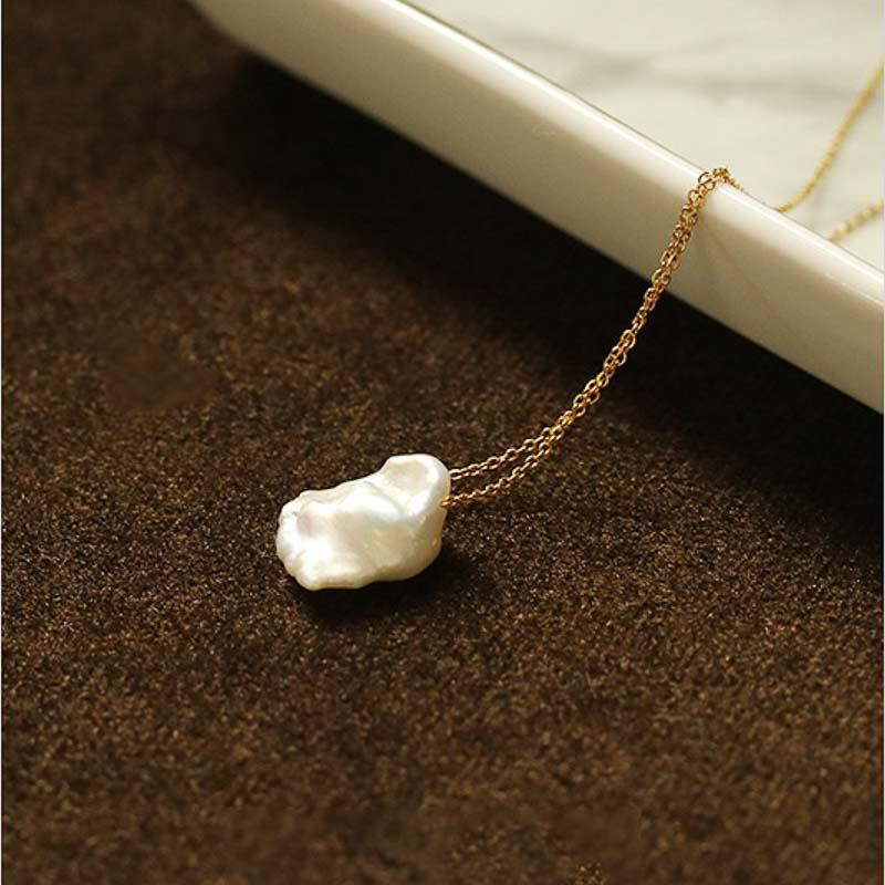 18k Gold Plated Baroque Shaped Pearl Pendants Necklaces