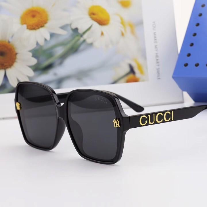 Gold Letters Pattern Decoration Square Polarized Sunglasses