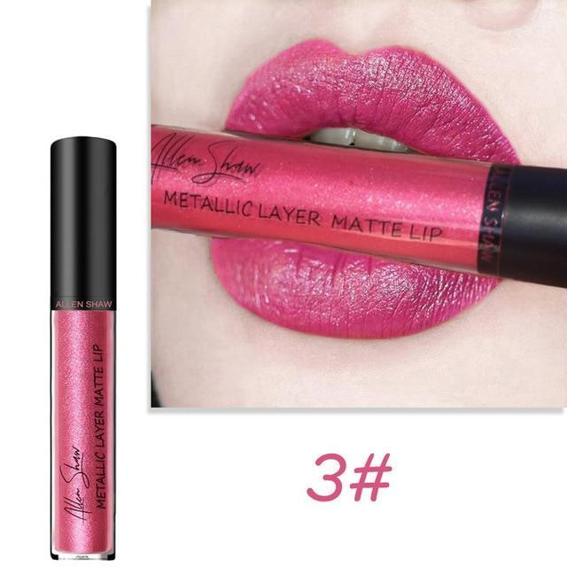 12 color metallic gloss lip gloss waterproof liquid lipstick