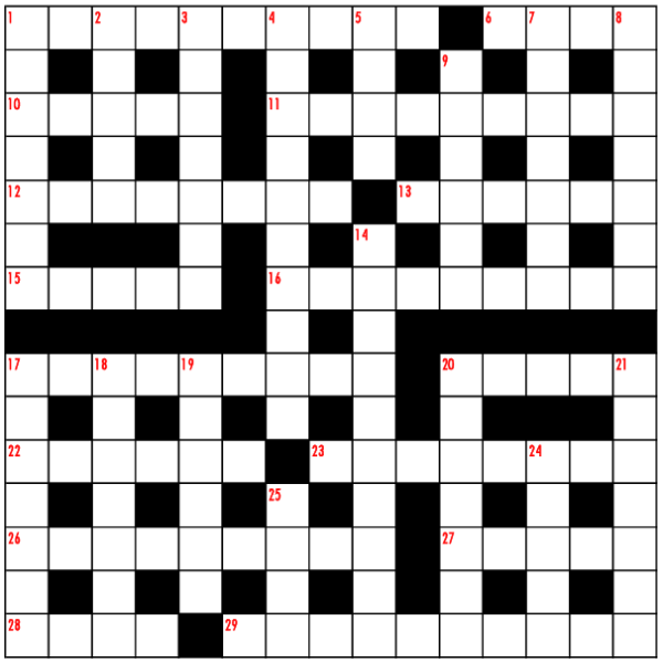 Christmas crossword 2019 grid from Bubble Brothers